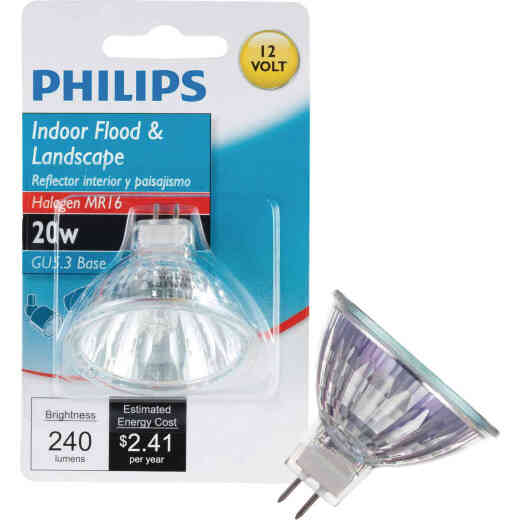 Philips 35W Equivalent Clear GU5.3 Base MR16 Halogen Floodlight Light Bulb