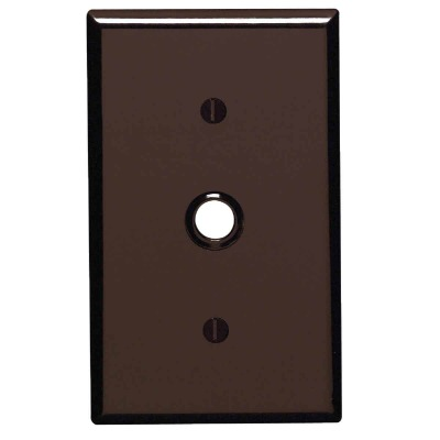 Leviton 1-Gang Thermoset Plastic Brown Telephone/Cable Wall Plate with 0.406 In. to 0.625 In. Hole