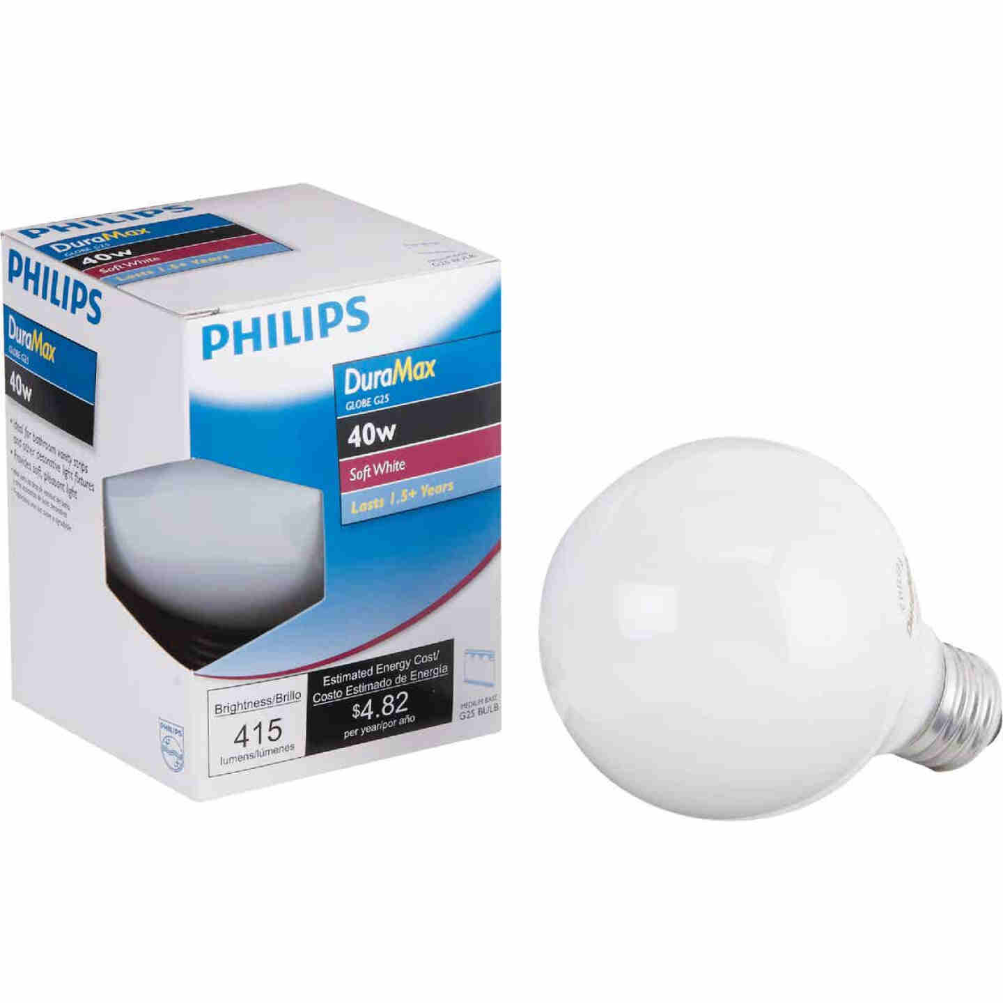 Philips DuraMax 40W Frosted Soft White Medium G25 Incandescent Globe Light Bulb Image 1
