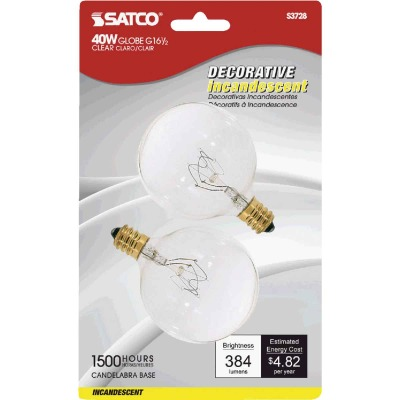 Satco 40W Clear Candelabra Base G16.5 Incandescent Globe Light Bulb (2-Pack)