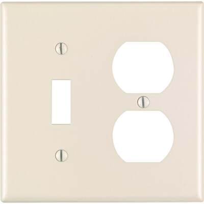 Leviton 2-Gang Plastic Single Toggle/Duplex Outlet Wall Plate, Light Almond