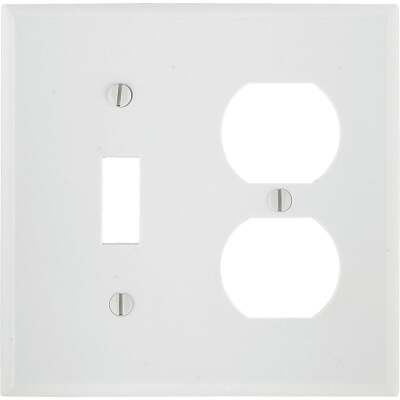 Leviton 2-Gang Plastic Single Toggle/Duplex Outlet Wall Plate, White