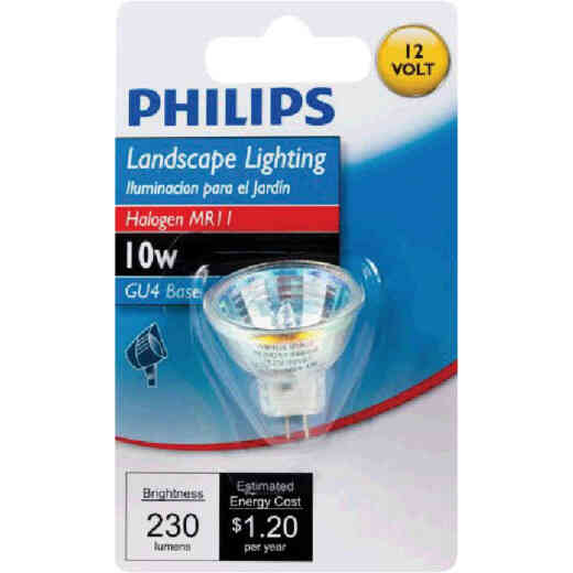Philips 10W Equivalent Clear GU4 Base MR11 Halogen Floodlight Light Bulb