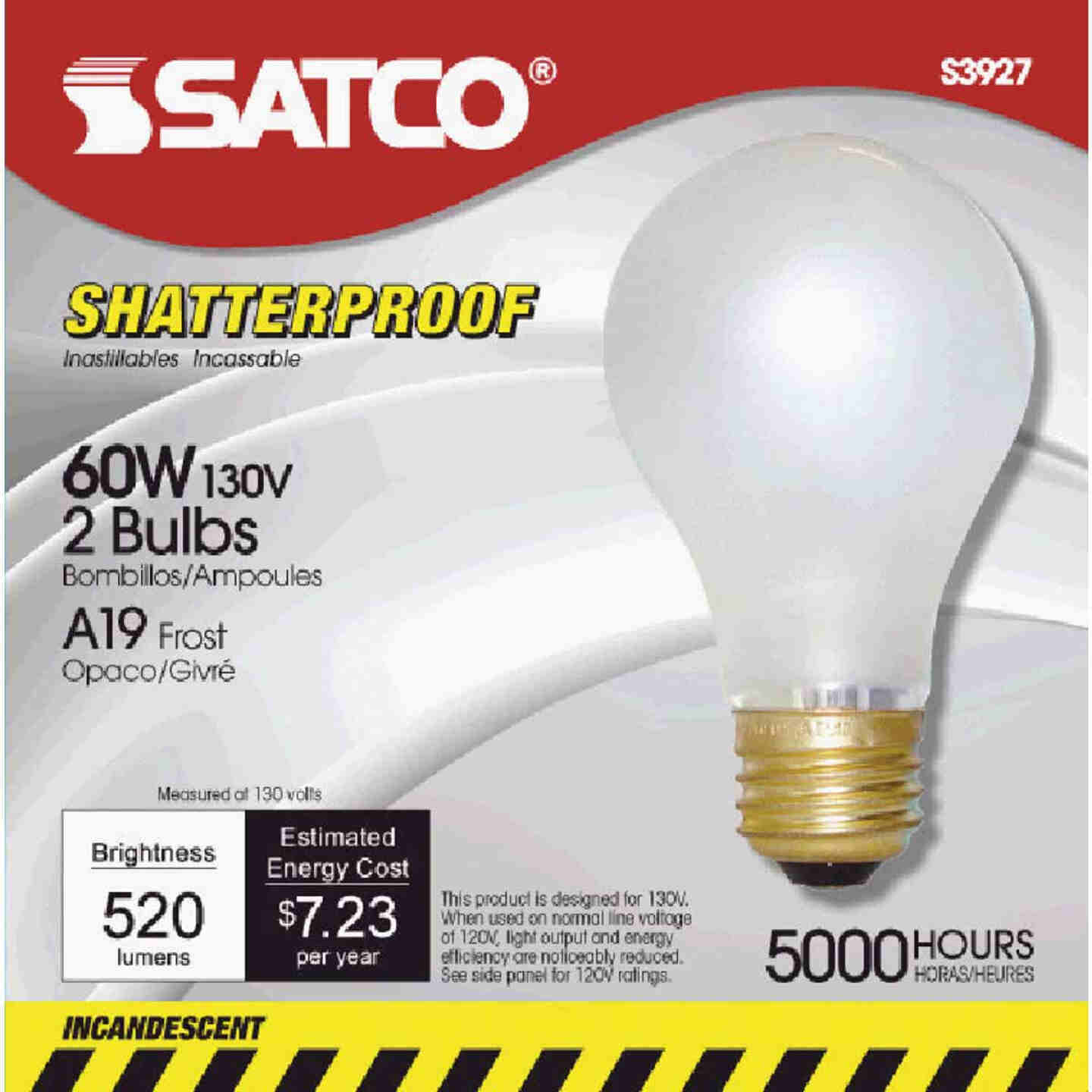Satco 60W Frosted Medium Base A19 Shatterproof Incandescent Rough Service Light Bulb (2-Pack) Image 1