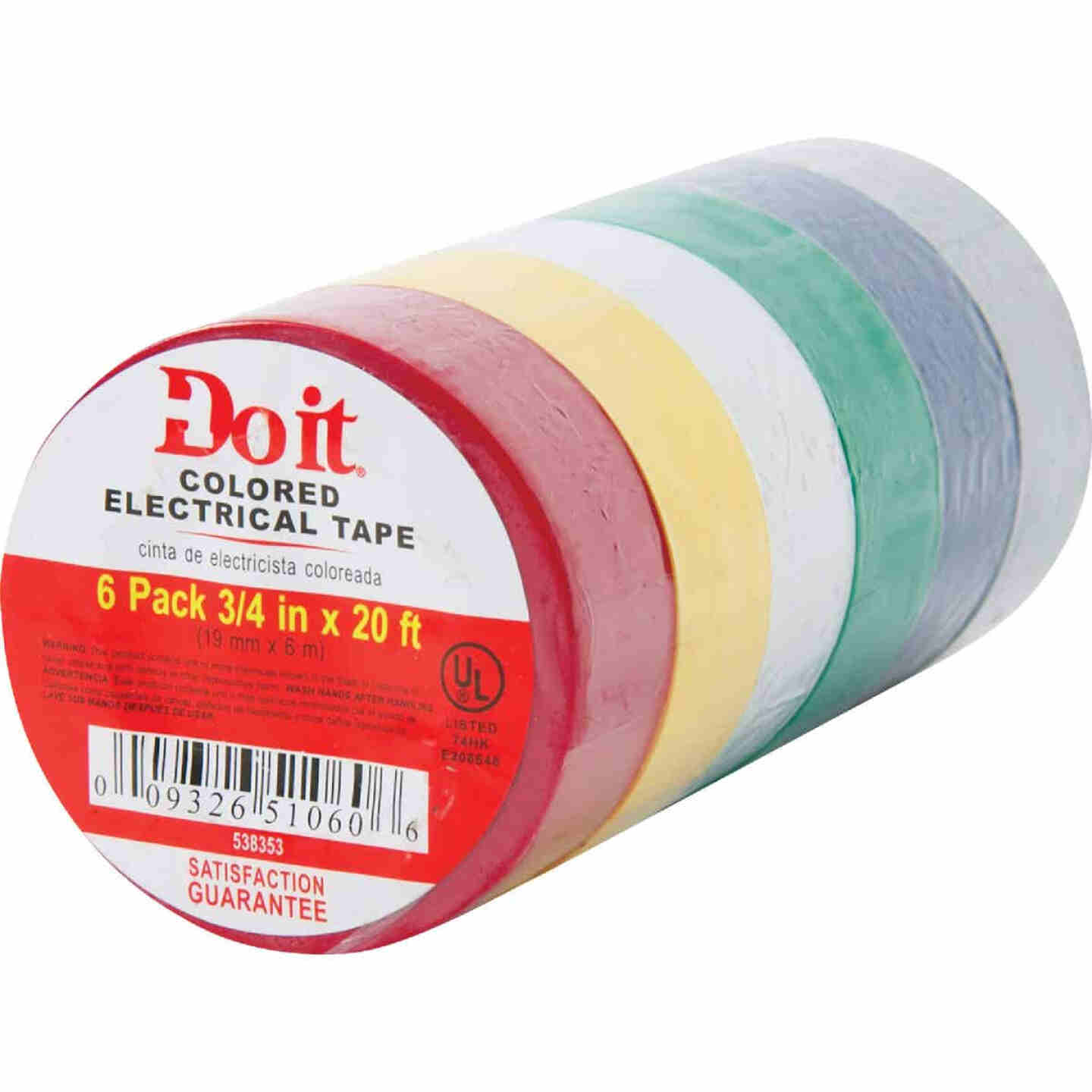Do it General Purpose 3/4 In. x 20 Ft. Assorted Color Electrical Tape, (6-Pack) Image 2