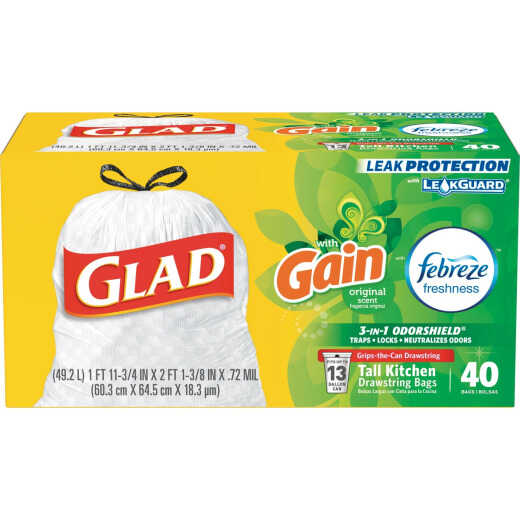 Glad 13 Gal. White Febreze Fresh LeakGuard Tall Kitchen Trash Bag (40-Count)