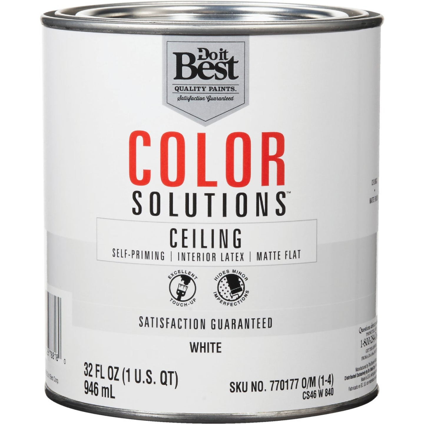 Do it Best Color Solutions Latex Self-Priming Flat Ceiling Paint, White, 1 Qt. Image 1