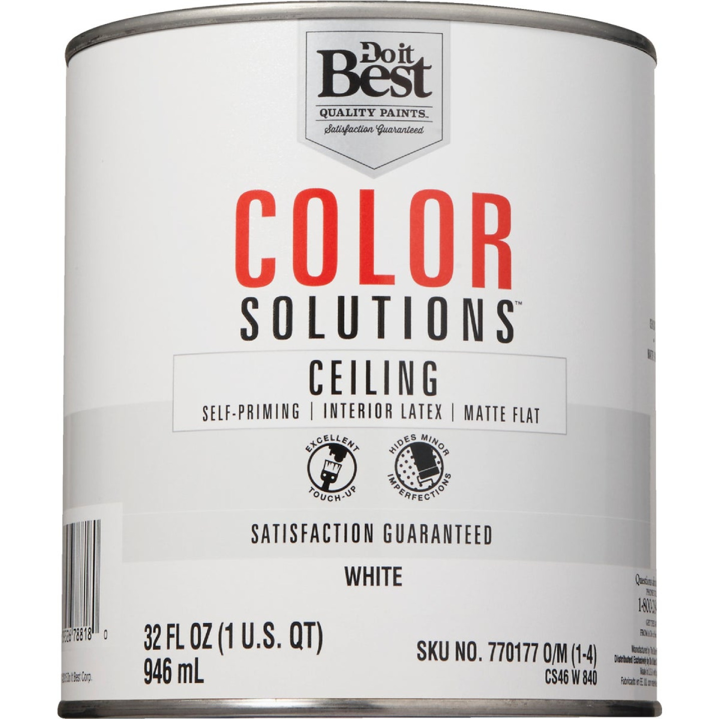 Do it Best Color Solutions Latex Self-Priming Flat Ceiling Paint, White, 1 Qt. Image 2