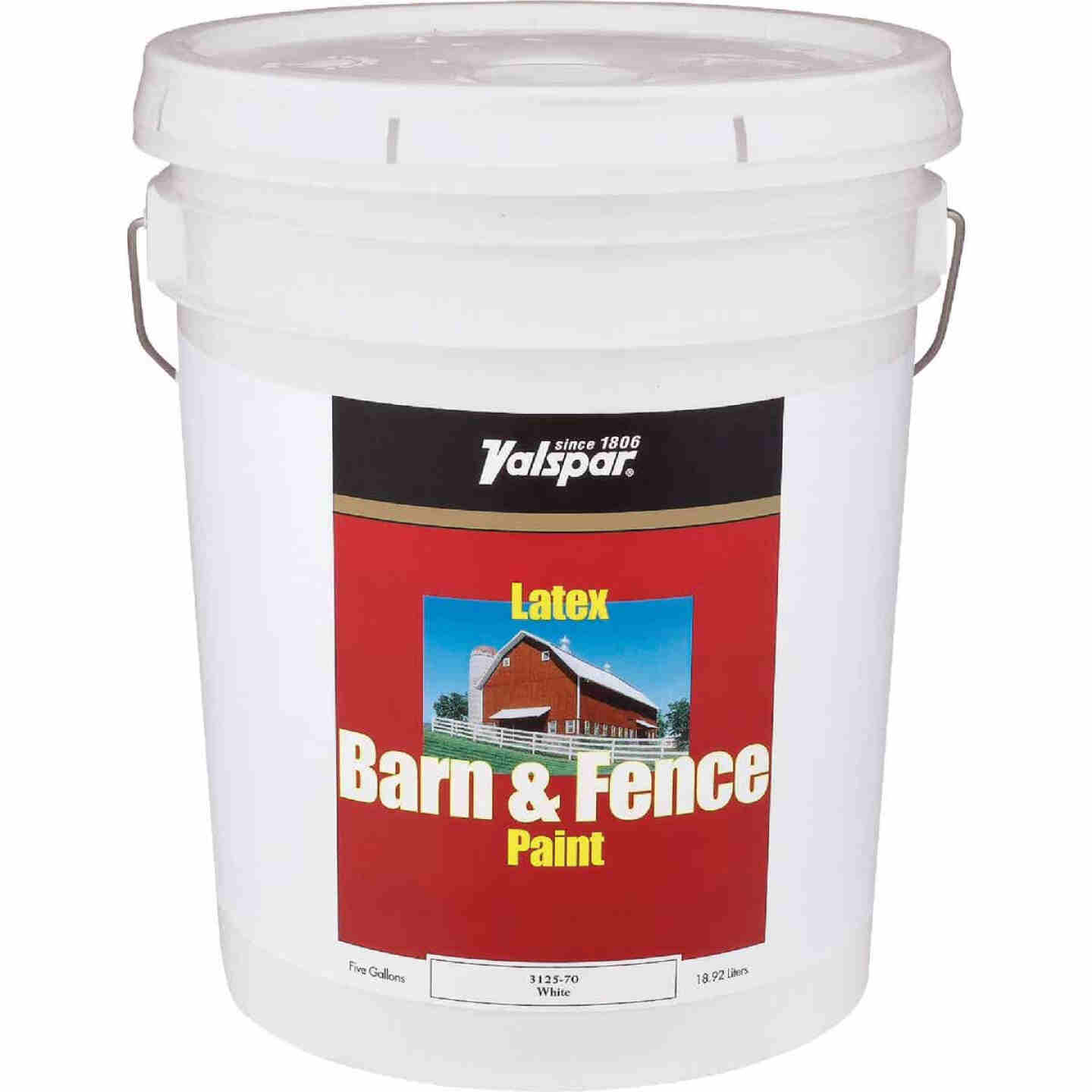 Valspar Latex Paint & Primer In One Flat Barn & Fence Paint, White, 5 Gal. Image 1