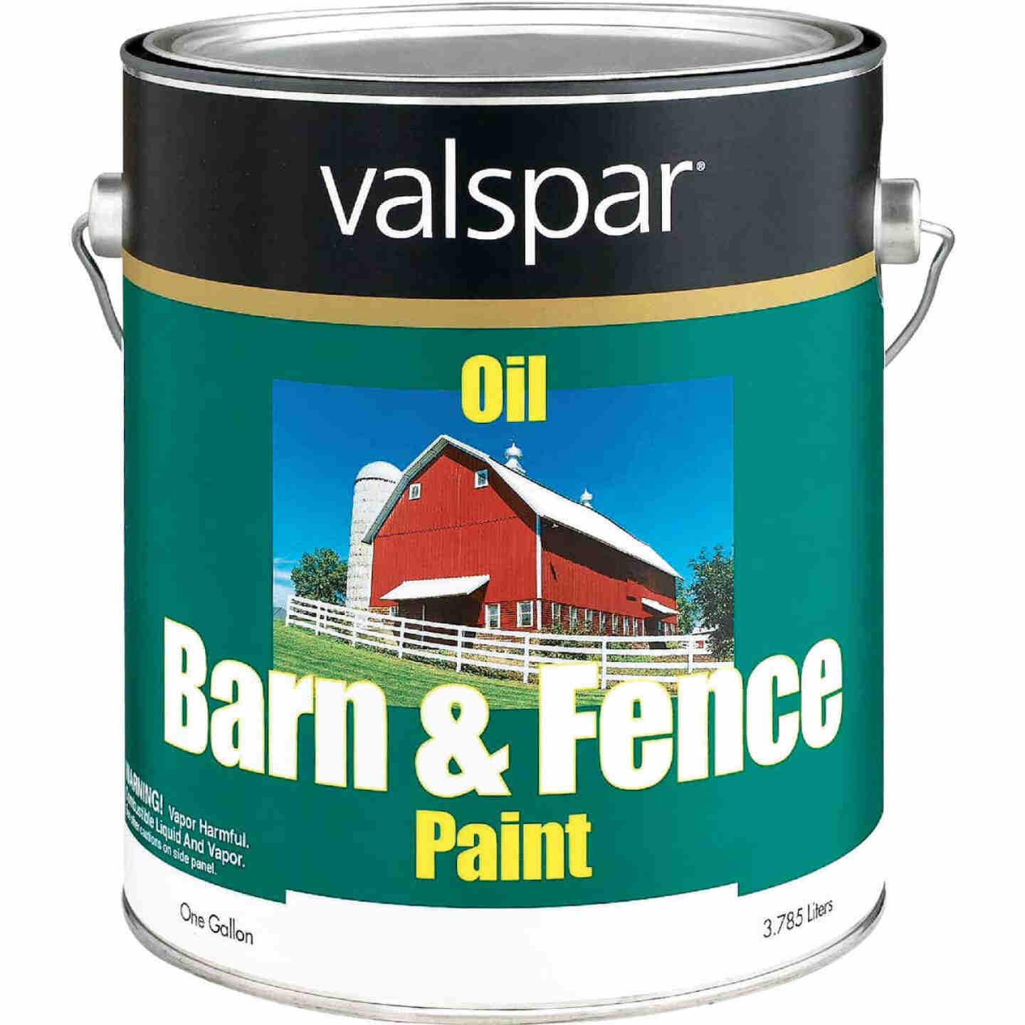 Valspar Oil Paint & Primer In One Low Sheen Barn & Fence Paint, Red, 1 Gal. Image 1