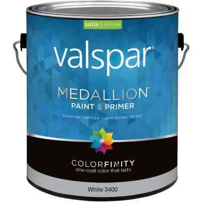 Valspar Medallion 100% Acrylic Paint & Primer Satin Interior Wall Paint, White, 1 Gal.