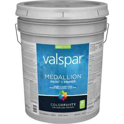 Valspar Medallion 100% Acrylic Paint & Primer Satin Interior Wall Paint, White, 5 Gal.