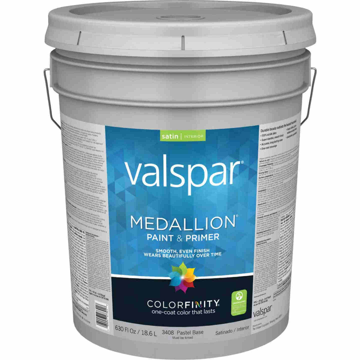Valspar Medallion 100% Acrylic Paint & Primer Satin Interior Wall Paint, Pastel Base, 5 Gal. Image 1
