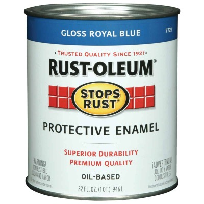 Rust-Oleum Stops Rust Oil Based Gloss Protective Rust Control Enamel, Royal Blue, 1 Qt.