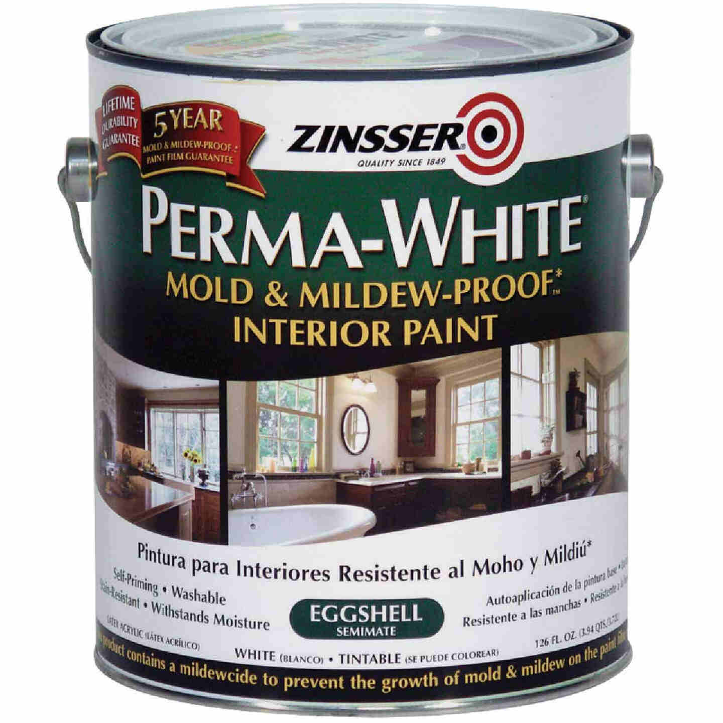 Zinsser Perma-White White-Tintable Eggshell Gallon Mildew Paint Image 1