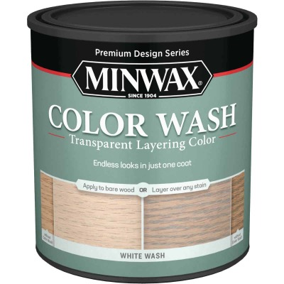 Minwax Water-Based White Wash Wood Stain, White, 1 Qt.