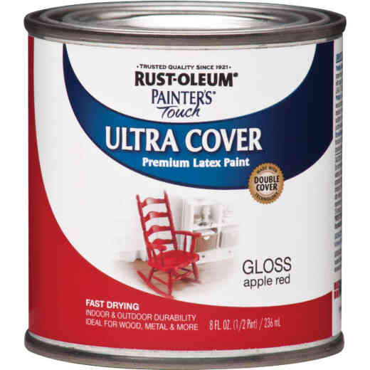 Rust-Oleum Painter's Touch 2X Ultra Cover Premium Latex Paint, Apple Red, 1/2 Pt.