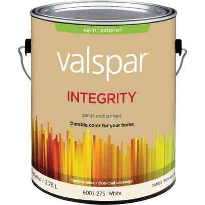 Valspar Integrity Latex Paint And Primer Satin Exterior House Paint, White, 1 Gal.