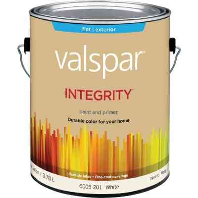 Valspar Integrity Latex Paint And Primer Flat Exterior House Paint, White, 1 Gal.