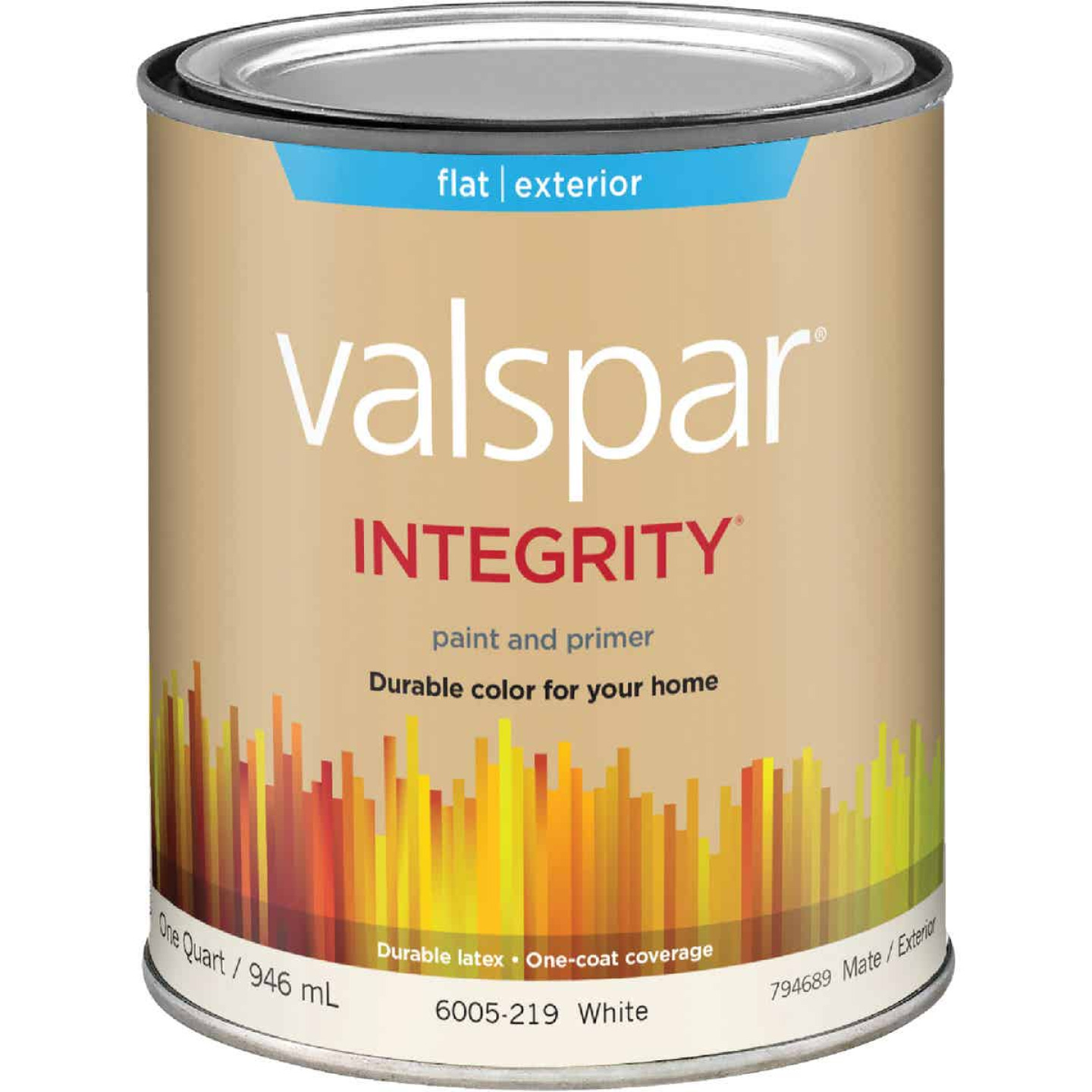 Valspar Integrity Latex Paint And Primer Flat Exterior House Paint, White, 1 Qt. Image 1
