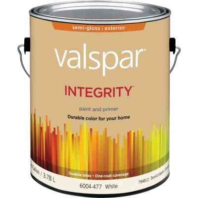 Valspar Integrity Latex Paint And Primer Semi-Gloss Exterior House Paint, White, 1 Gal.