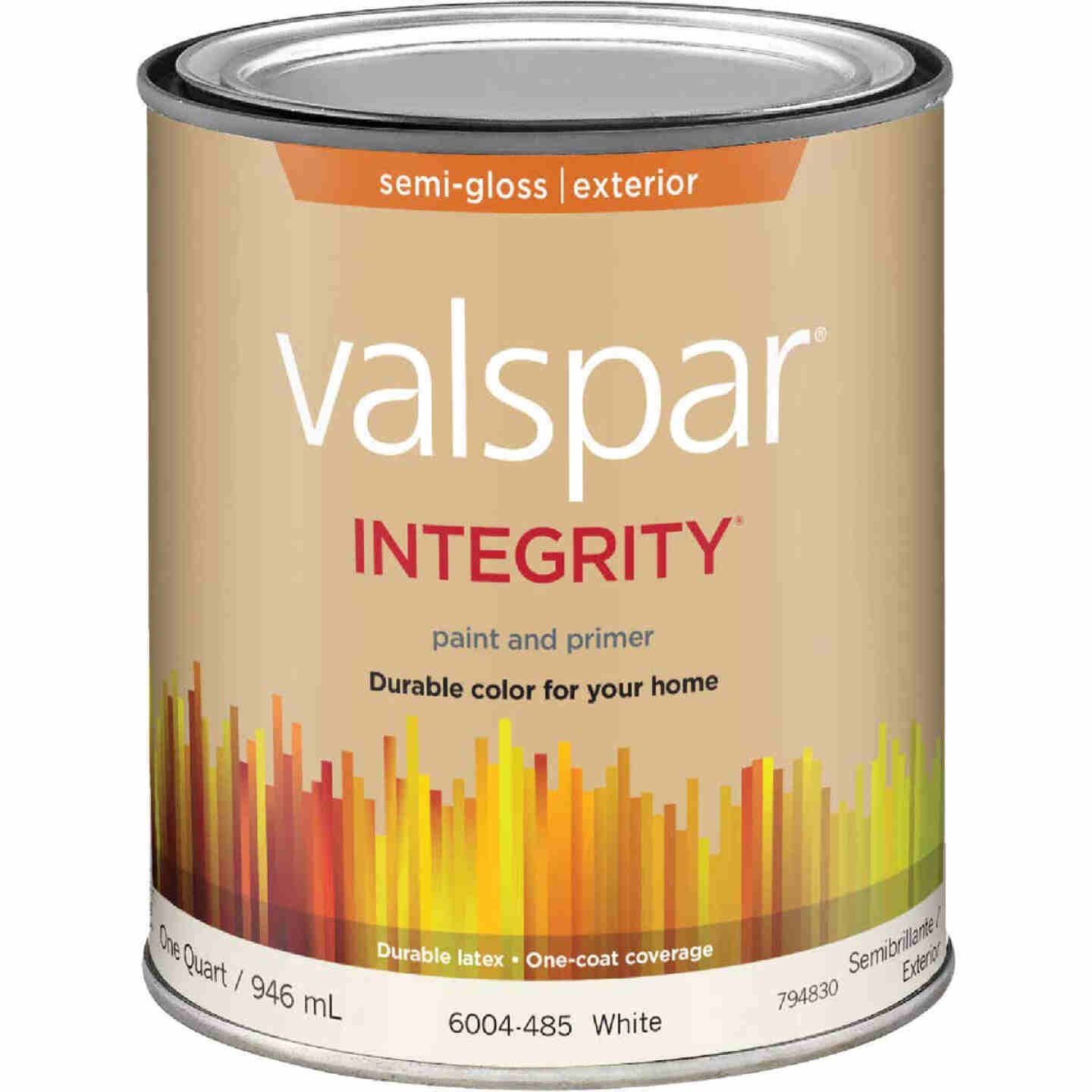 Valspar Integrity Latex Paint And Primer Semi-Gloss Exterior House Paint, White, 1 Qt. Image 1