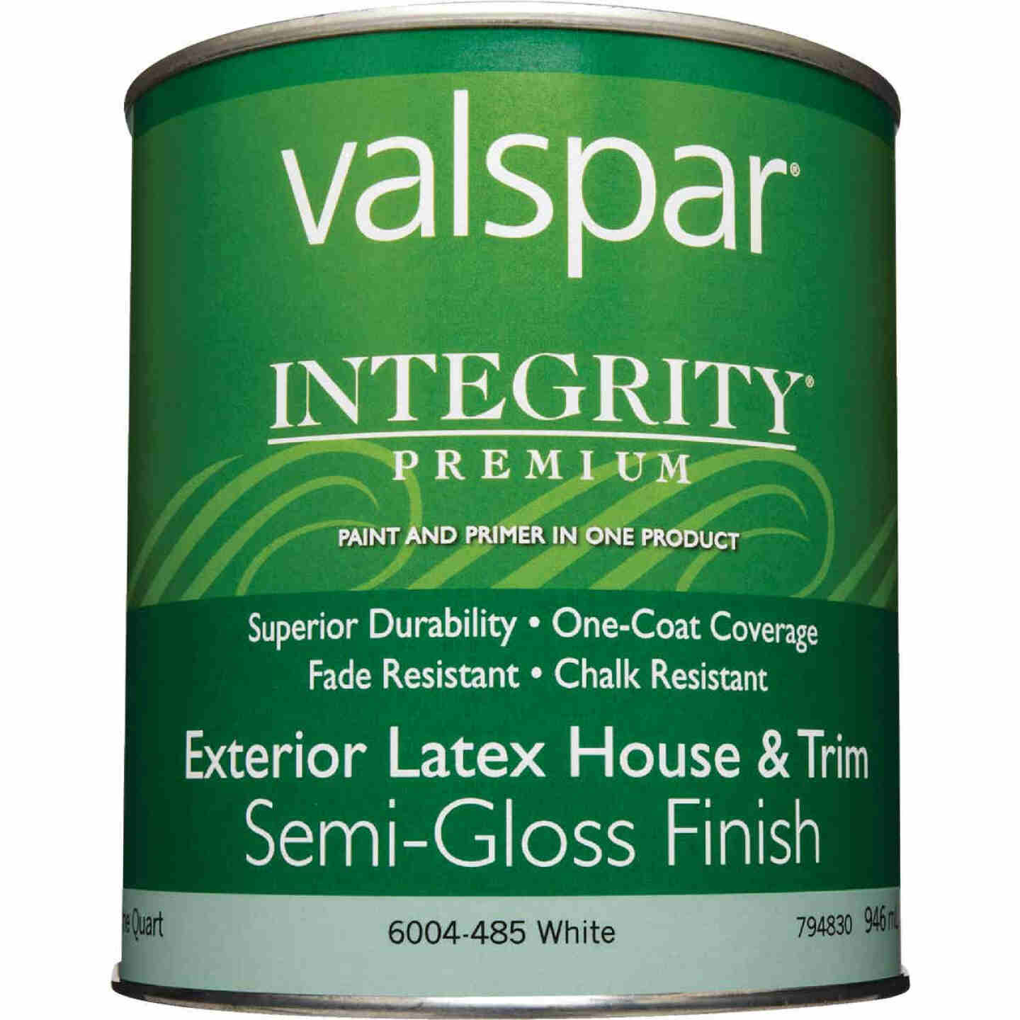 Valspar Integrity Latex Paint And Primer Semi-Gloss Exterior House Paint, White, 1 Qt. Image 2