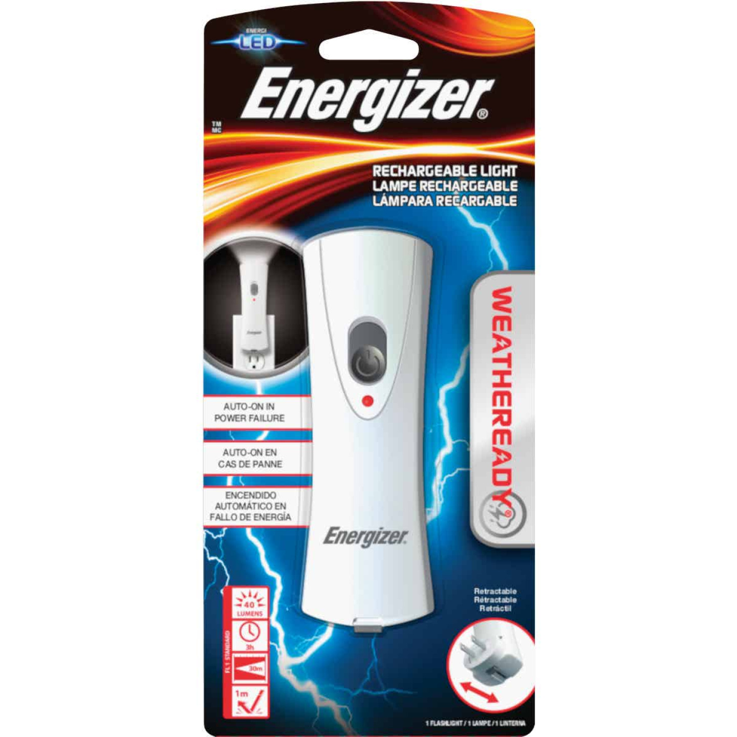 Energizer Weatheready LED Plastic Rechargeable Flashlight Image 1