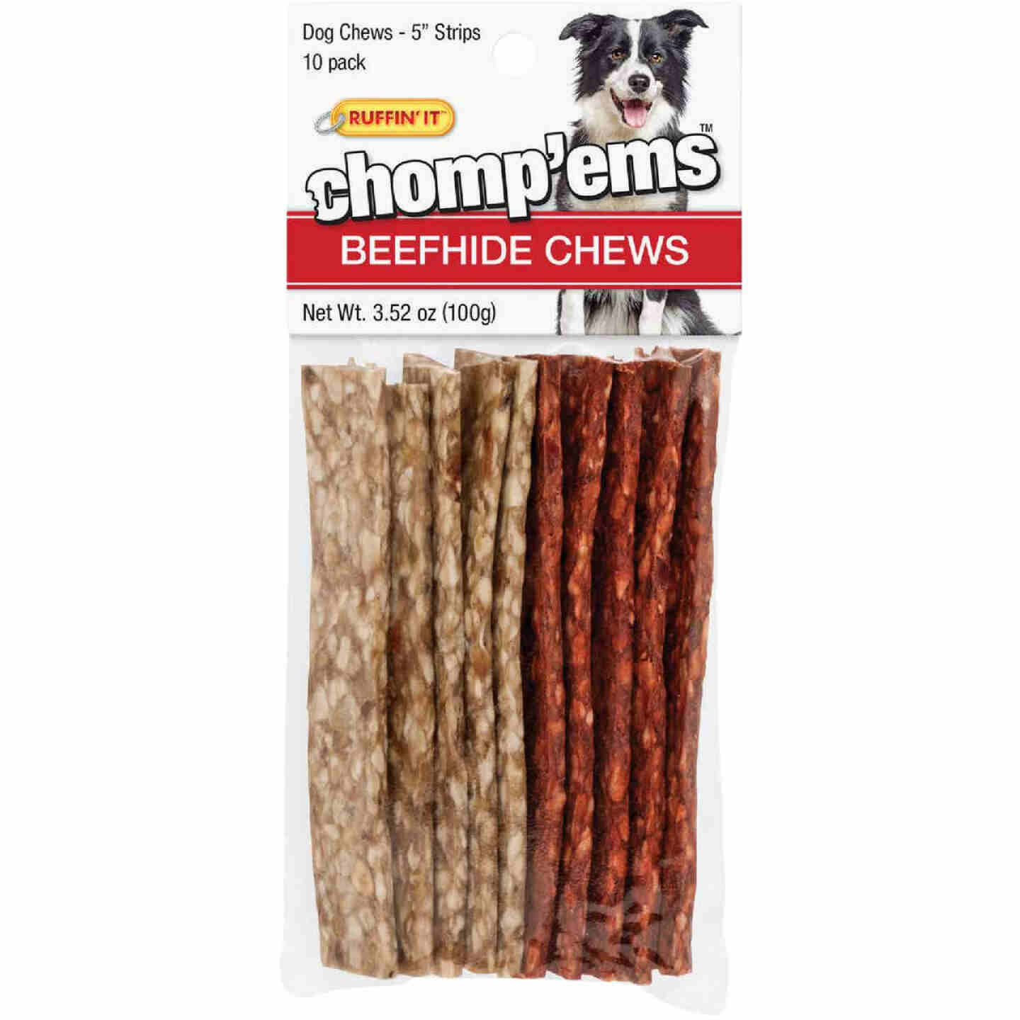 Westminster Pet Ruffin' it Chomp'ems Beef Strip 5 In. Beefhide Chew, (10-Pack) Image 1
