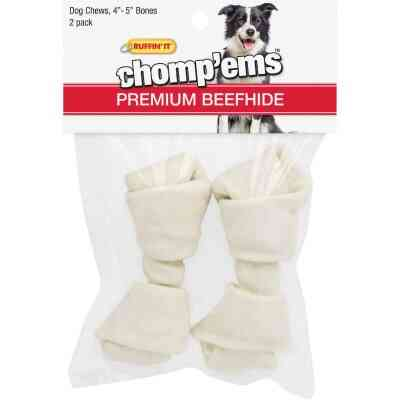 Westminster Pet Ruffin' it Chomp'ems Knotted 4 In. to 5 In. Rawhide Bone (2-Pack)