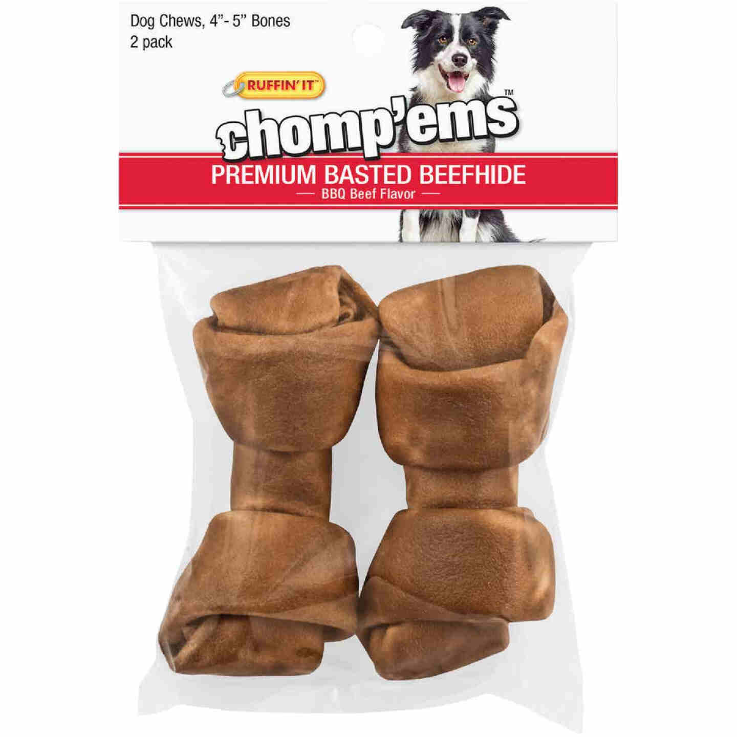 Westminster Pet Ruffin' it Chomp'ems Knotted 4 In. to 5 In. Beef Rawhide Bone (2-Pack) Image 1