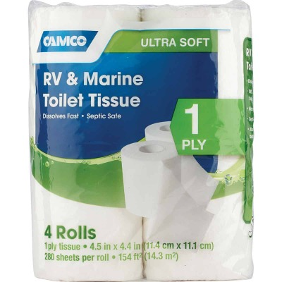 Camco RV & Marine 1-Ply Toilet Paper (4 Regular Rolls)