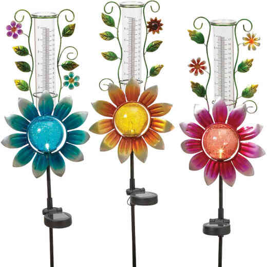 Gerson Spring GIL Metal & Glass 33.5 In. H. Flower Solar Stake Light