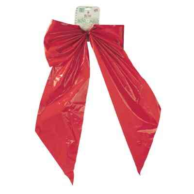 Holiday Trims 2-Loop 18 In. W. x 31 In. L. Red Plastic Outdoor Christmas Bow