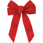 Holiday Trims 5-Loop 11 In. W. x 16 In. L. Red Velvet Christmas Bow Image 1
